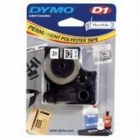 Dymo Permanente tape zwart wit -type d1  19mmx5.5m
