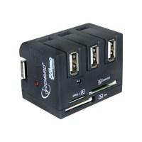 Gembird compacte vouwbare USB 2.0 3 poorts hub met kaart lezer/schrijver voor CF, MS, SD/MMC, T-Flash, XD kaarten